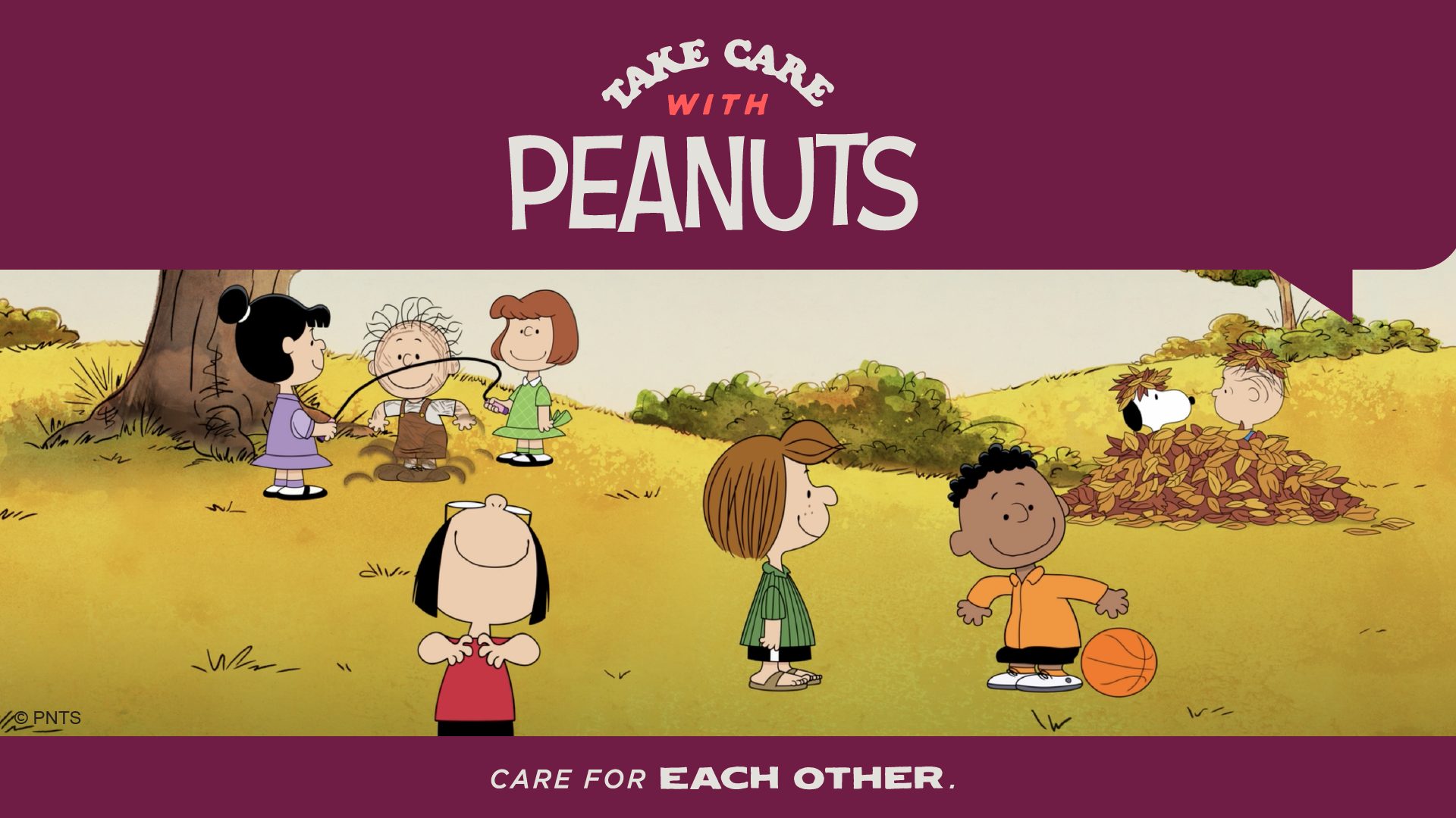Kids playing in a field with the words Take Care with Peanuts and Care for Each Other