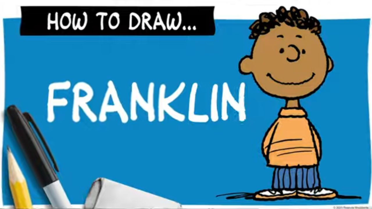 A drawing of a boy next to a pencil, marker and eraser, and the words How To Draw Franklin.
