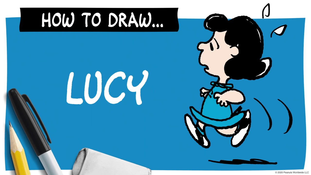 A drawing of Lucy next to a pencil, marker and eraser, and the words How To Draw Lucy.