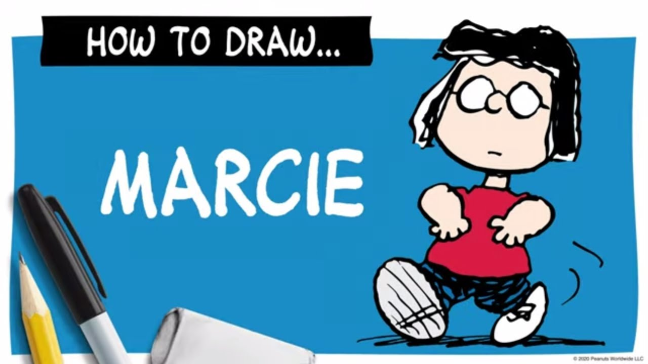 A drawing of a girl in glasses next to a pencil, marker and eraser, and the words How To Draw Marcie