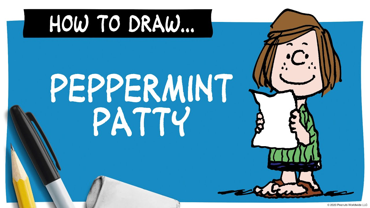 A drawing of a girl next to a pencil, marker and eraser, and the words How To Draw Peppermint Patty