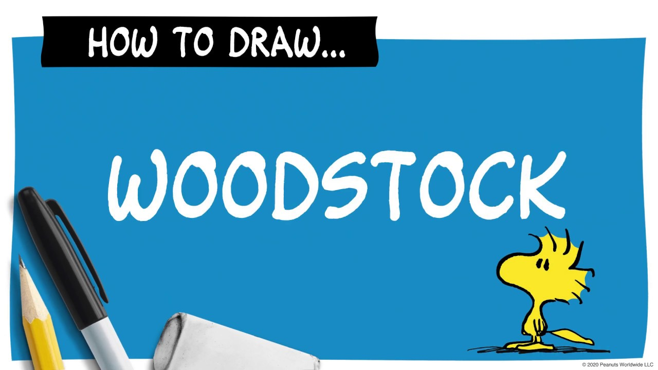 A drawing of yellow bird next to a pencil, marker and eraser, and the words How To Draw Woodstock.
