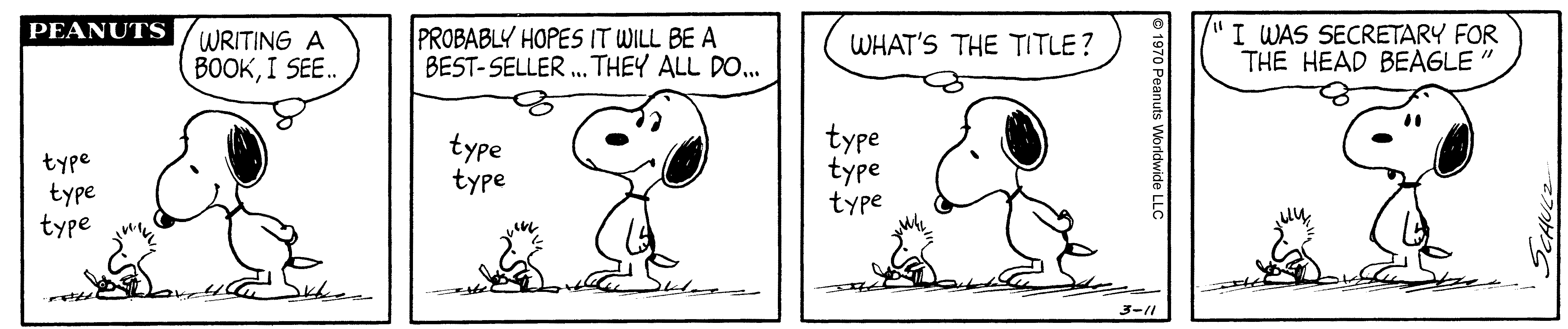 A comic strip of a white dog and a little bird sitting on the ground typing on a typewriter.
